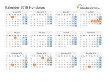 Kalender 2019 Honduras mit Feiertagen