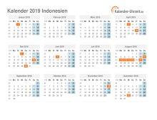 Kalender 2019 Indonesien mit Feiertagen