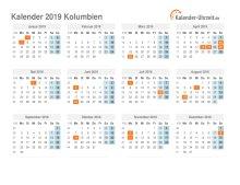 Kalender 2019 Kolumbien mit Feiertagen
