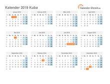 Kalender 2019 Kuba mit Feiertagen