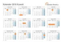 Kalender 2019 Kuwait mit Feiertagen