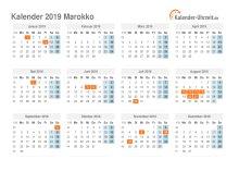 Kalender 2019 Marokko mit Feiertagen