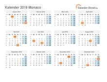 Kalender 2019 Monaco mit Feiertagen