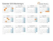 Kalender 2019 Montenegro mit Feiertagen