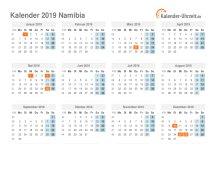 Kalender 2019 Namibia mit Feiertagen
