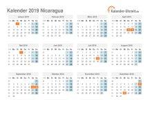 Kalender 2019 Nicaragua mit Feiertagen