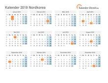 Kalender 2019 Nordkorea mit Feiertagen