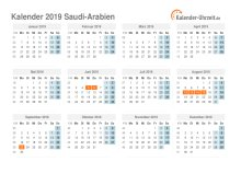 Kalender 2019 Saudi-Arabien mit Feiertagen
