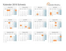 Kalender 2019 Schweiz mit Feiertagen