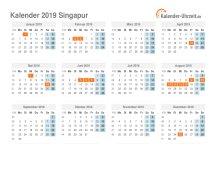Kalender 2019 Singapur mit Feiertagen