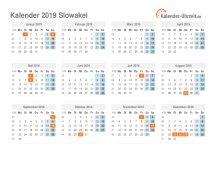 Kalender 2019 Slowakei mit Feiertagen