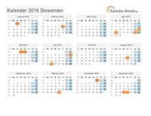 Kalender 2019 Slowenien mit Feiertagen