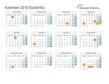 Kalender 2019 Südafrika mit Feiertagen