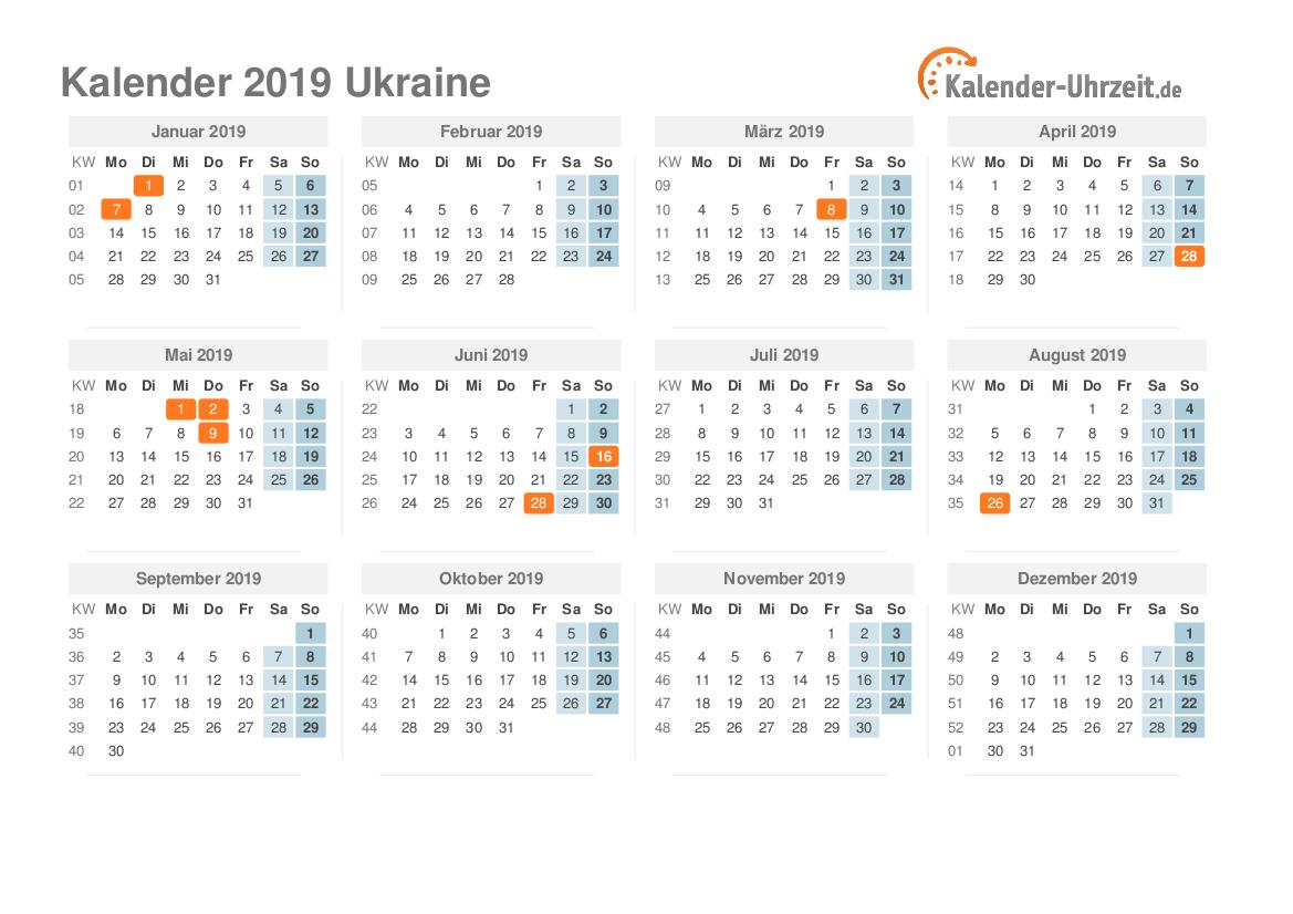 Kalender 2019 Ukraine mit Feiertagen