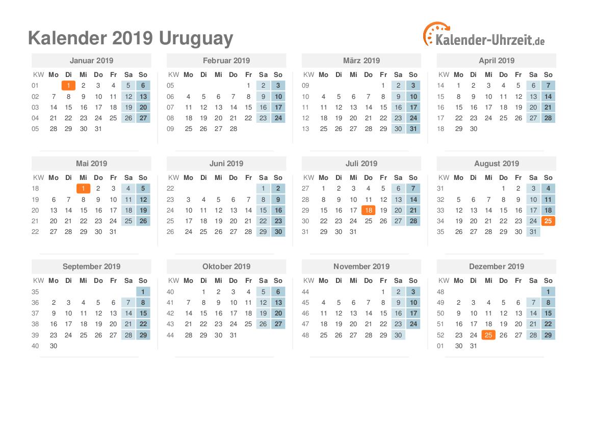 Kalender 2019 Uruguay mit Feiertagen