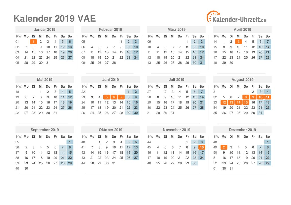 Kalender 2019 VAE mit Feiertagen