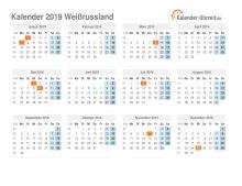 Kalender 2019 Weißrussland mit Feiertagen