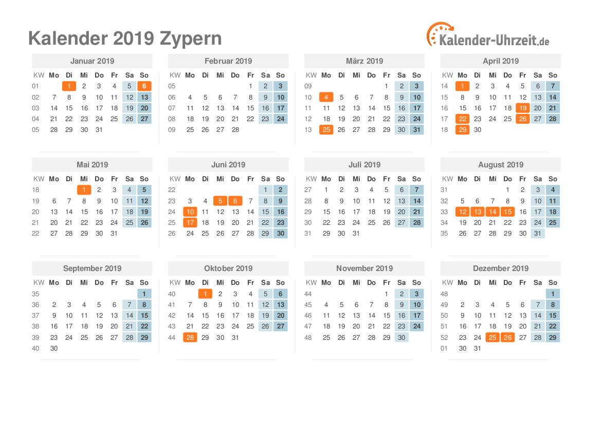 Kalender 2019 Zypern mit Feiertagen