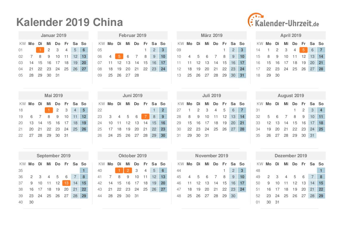 feiertage 2019 china kalender bersicht. Black Bedroom Furniture Sets. Home Design Ideas