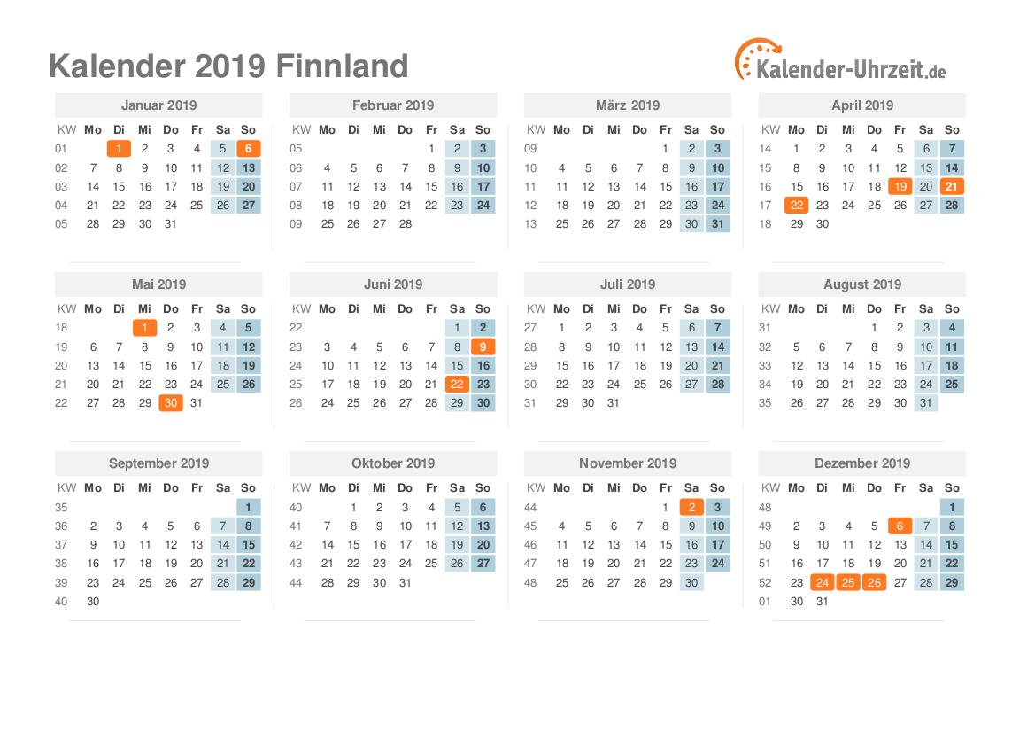 feiertage 2019 finnland kalender bersicht. Black Bedroom Furniture Sets. Home Design Ideas