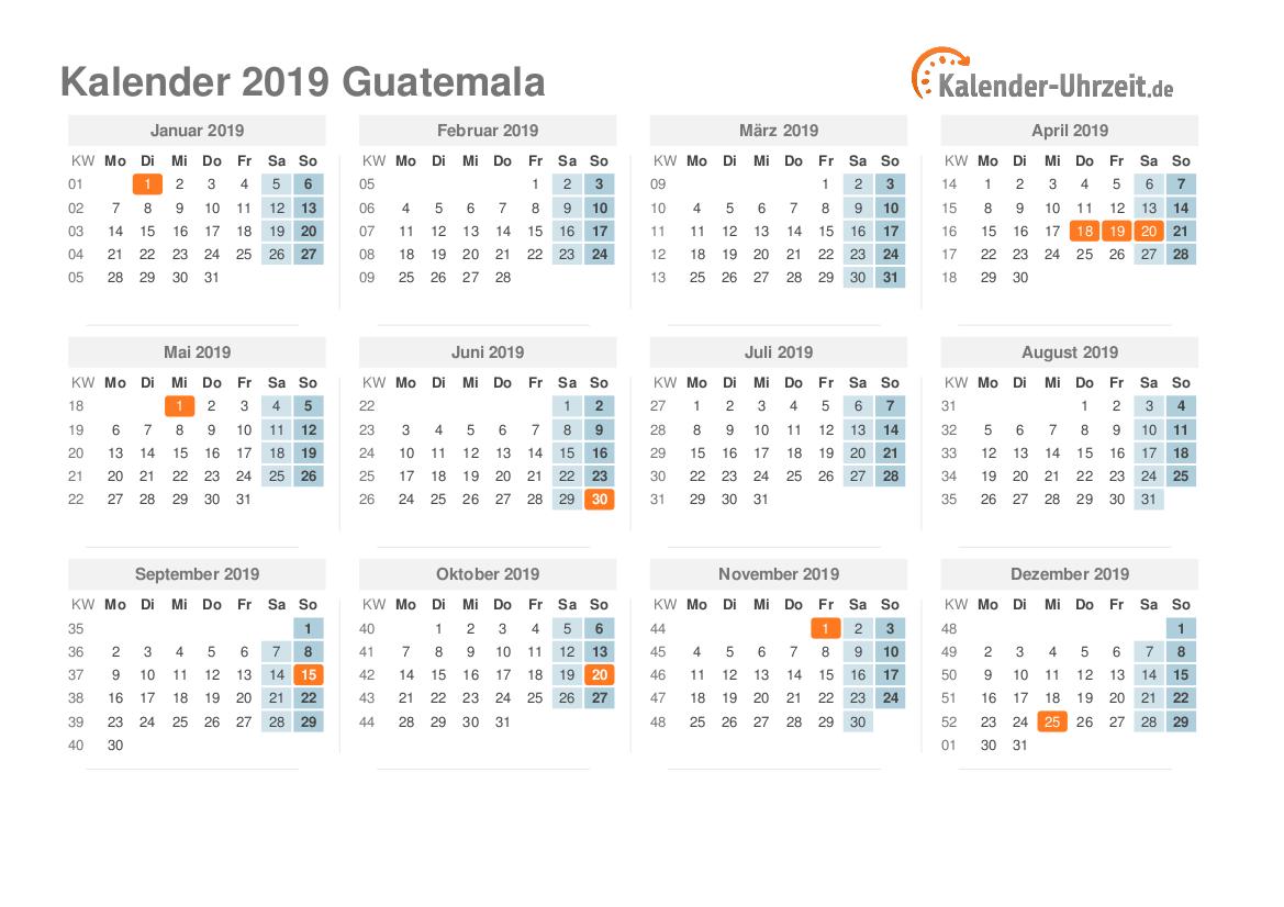 feiertage 2019 guatemala kalender bersicht. Black Bedroom Furniture Sets. Home Design Ideas