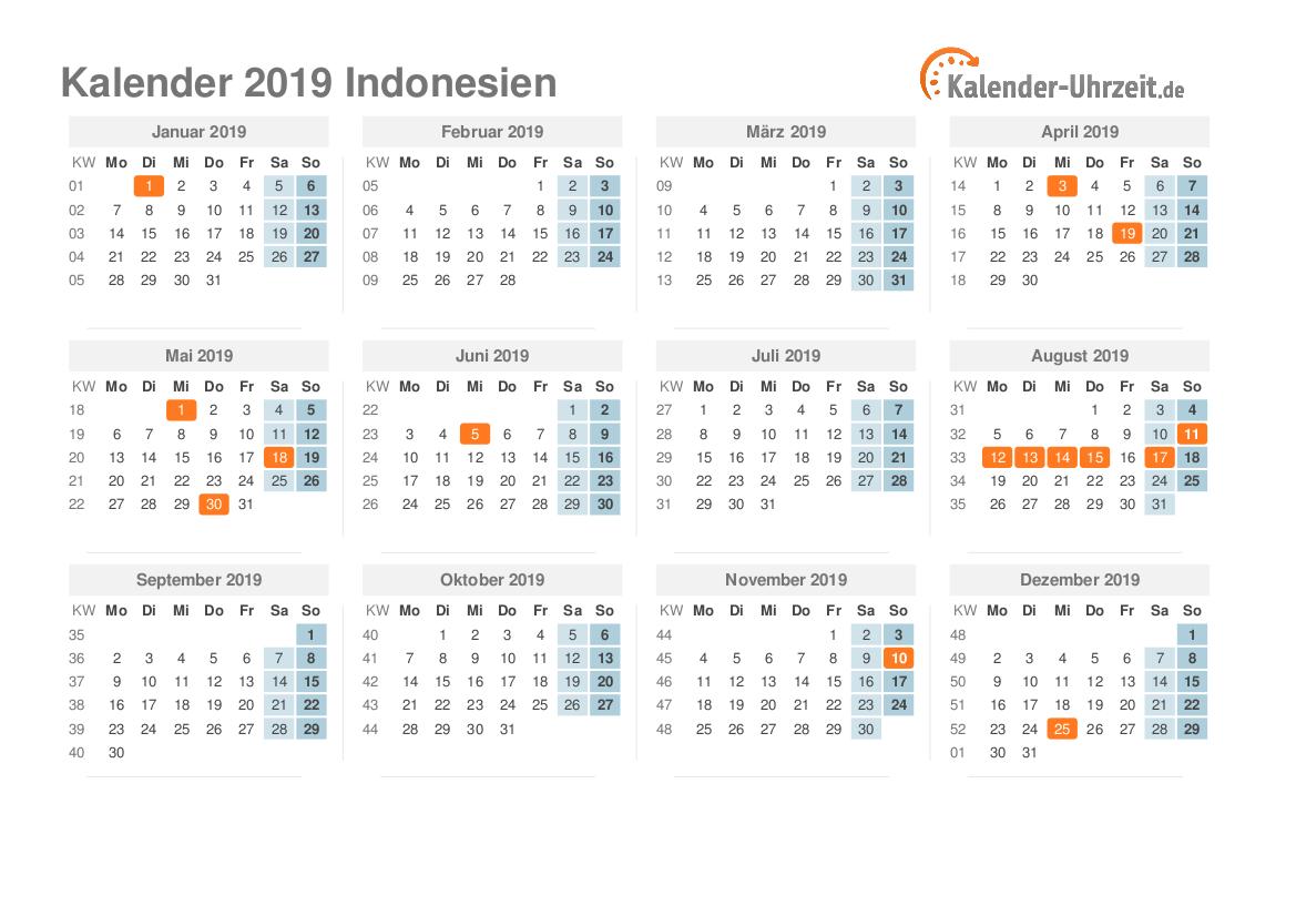 feiertage 2019 indonesien kalender bersicht. Black Bedroom Furniture Sets. Home Design Ideas