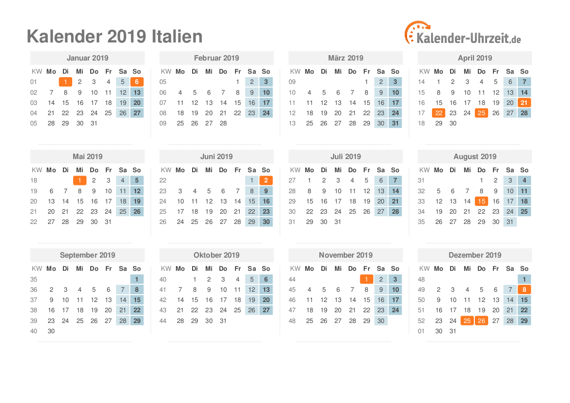 Italienische Feiertage 2021