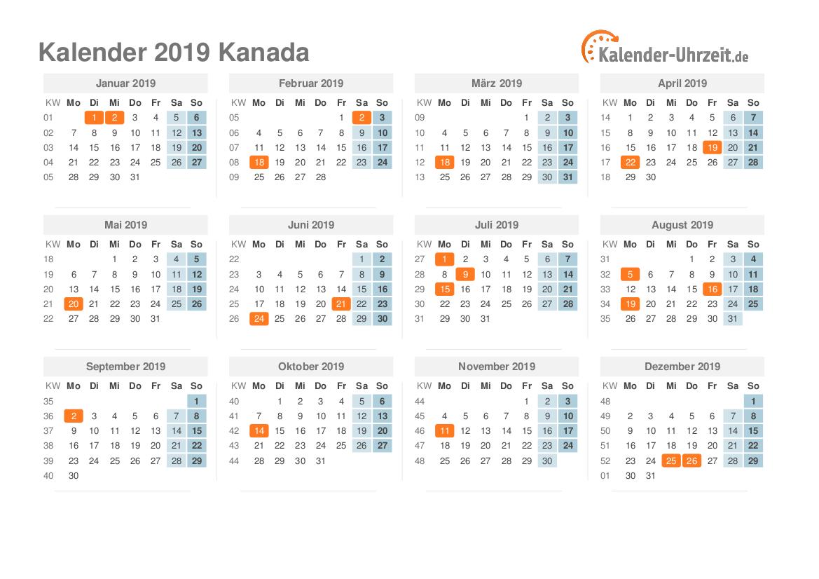 Kalender 2019 Kanada mit