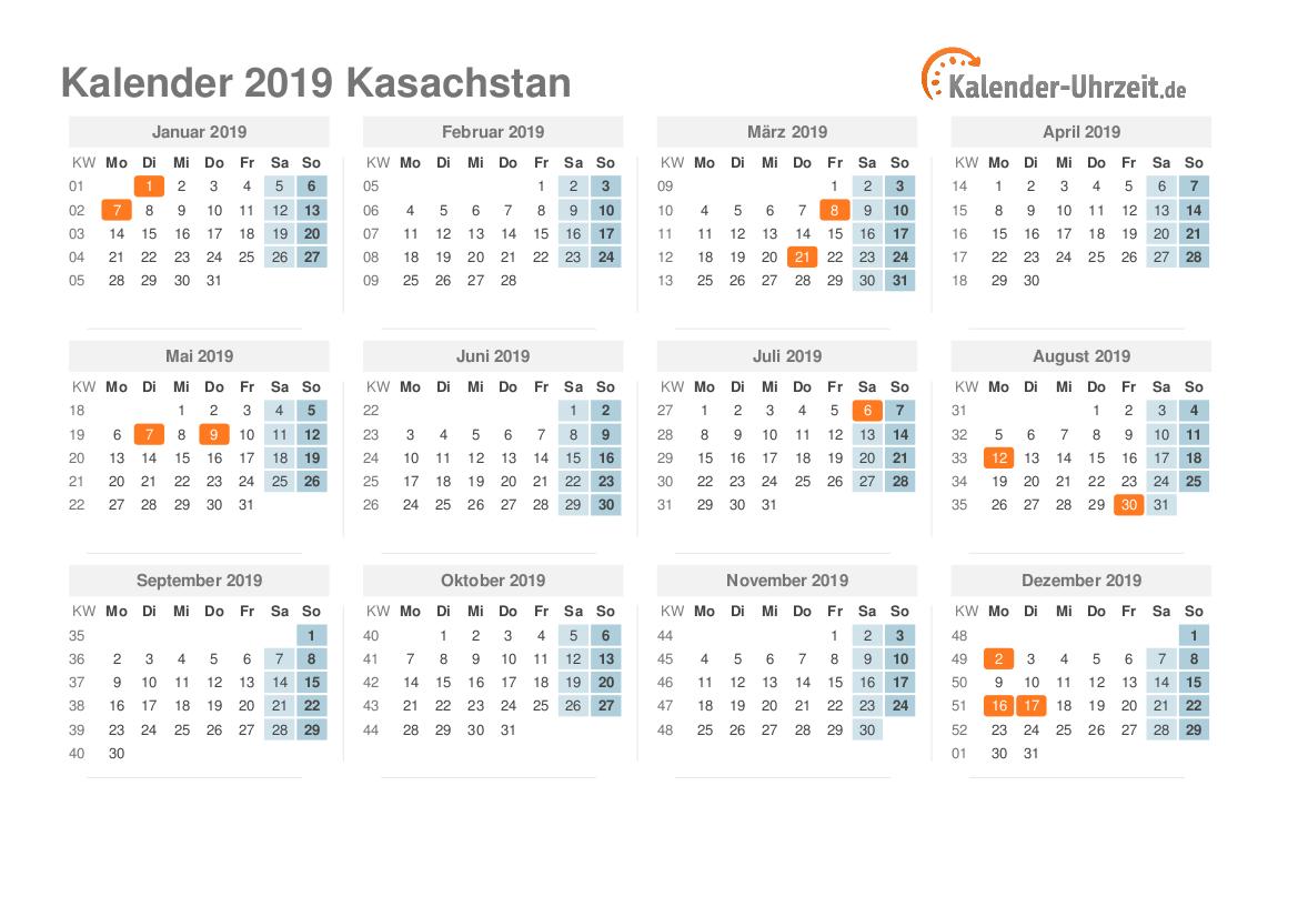 feiertage 2019 kasachstan kalender bersicht. Black Bedroom Furniture Sets. Home Design Ideas