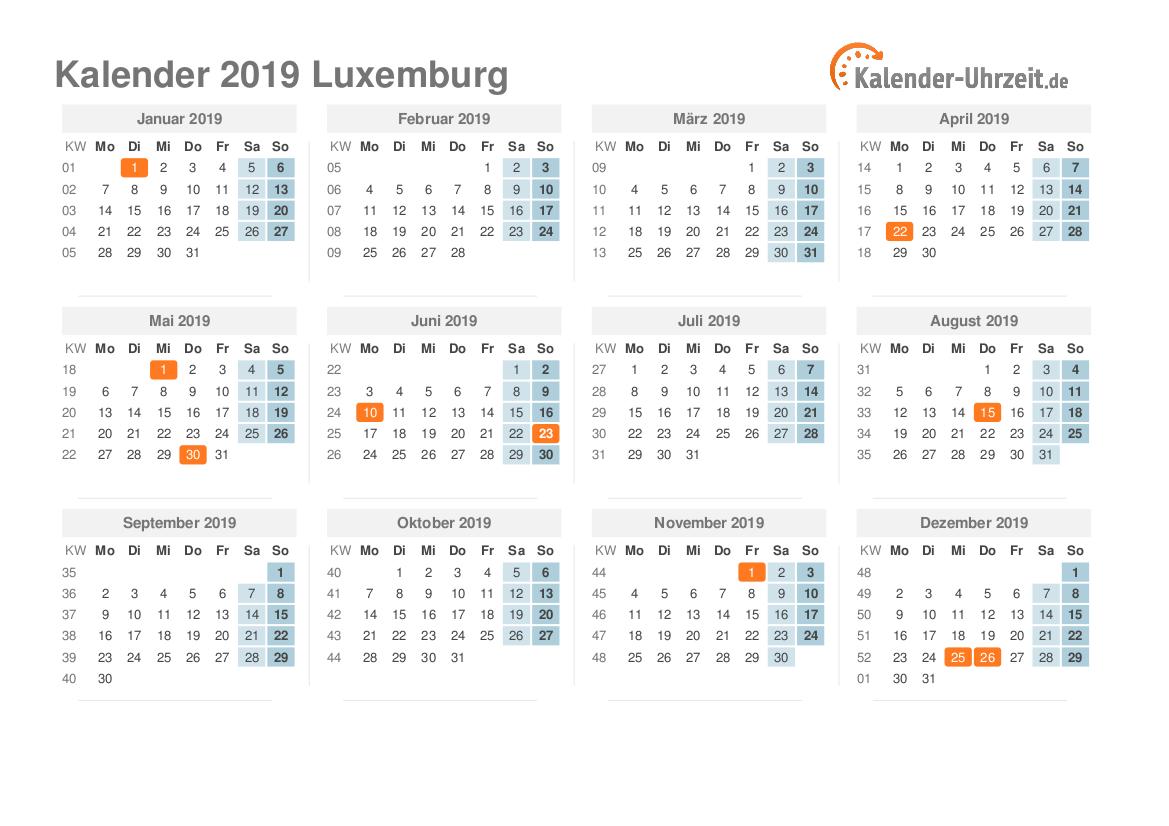 feiertage 2019 luxemburg kalender bersicht. Black Bedroom Furniture Sets. Home Design Ideas