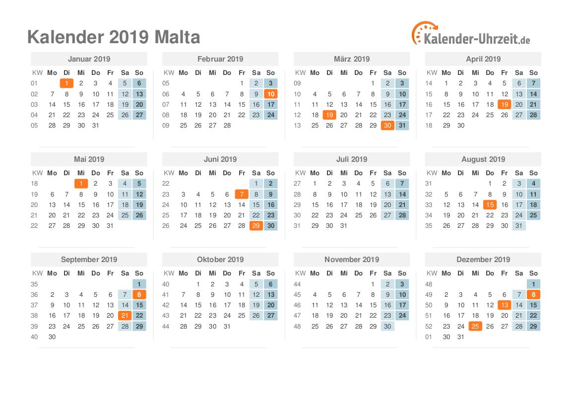 feiertage 2019 malta kalender bersicht. Black Bedroom Furniture Sets. Home Design Ideas
