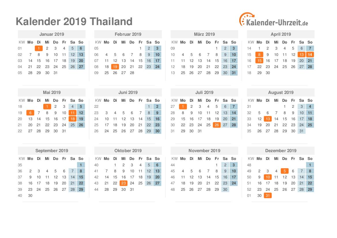 feiertage 2019 thailand kalender bersicht. Black Bedroom Furniture Sets. Home Design Ideas