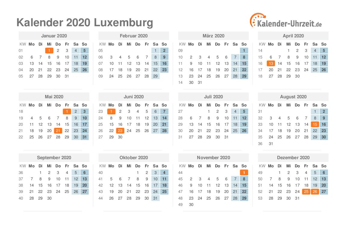 Feiertage 2020 Luxemburg - Kalender & Übersicht