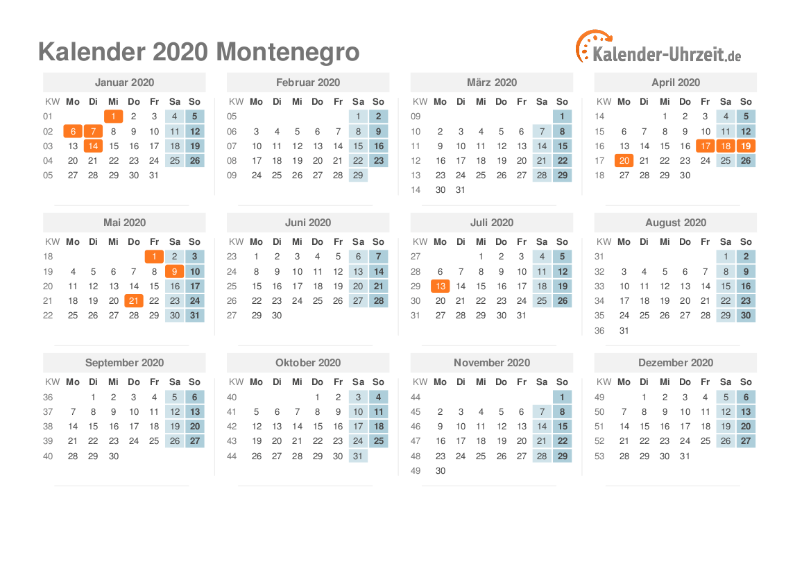 Feiertage 2020 Montenegro Kalender übersicht