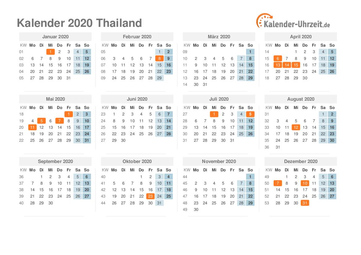 Thai Calendar 2020 Feiertage 2020 Thailand   Kalender & Übersicht