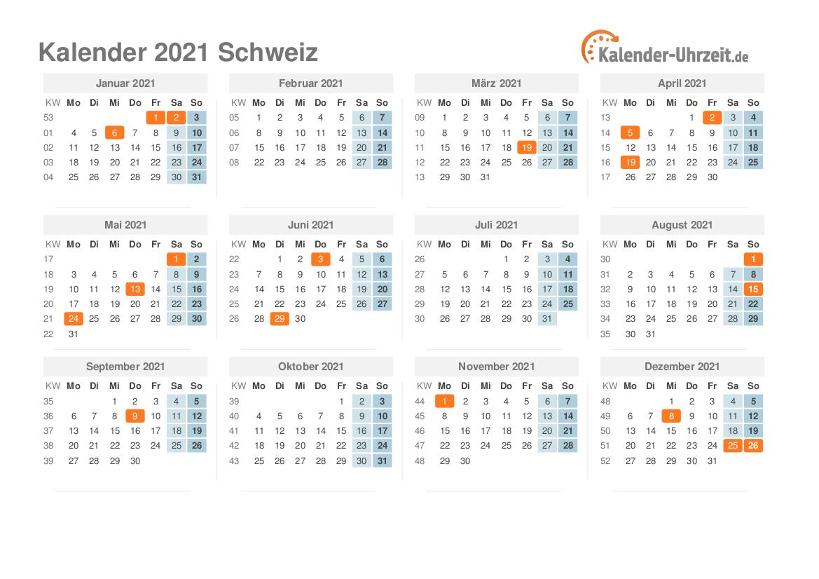 Feiertage 2021 Schweiz