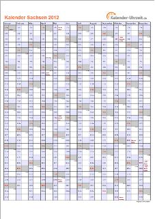 Sachsen Kalender 2012 mit Feiertagen - hoch-einseitig