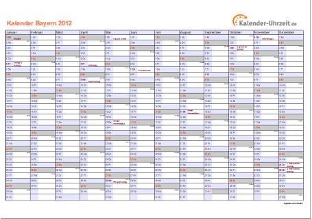 Bayern Kalender 2012 mit Feiertagen - quer-einseitig