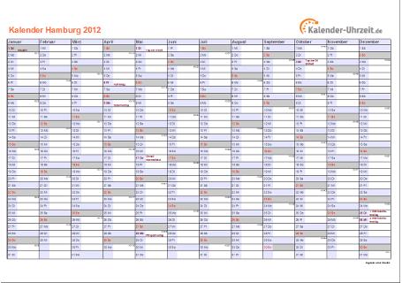 Hamburg Kalender 2012 mit Feiertagen - quer-einseitig