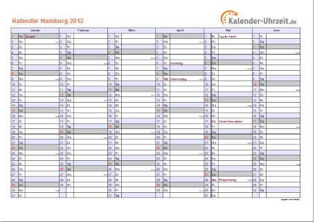 Hamburg Kalender 2012 mit Feiertagen - quer-zweiseitig