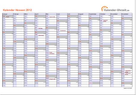Hessen Kalender 2012 mit Feiertagen - quer-einseitig