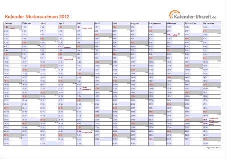 Niedersachsen Kalender 2012 mit Feiertagen - quer-einseitig