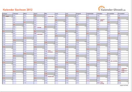 Sachsen Kalender 2012 mit Feiertagen - quer-einseitig