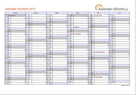 Sachsen Kalender 2012 mit Feiertagen - quer-zweiseitig