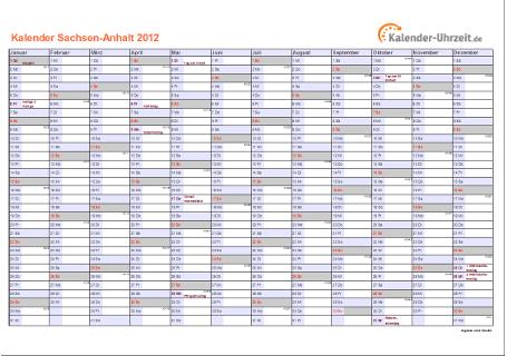Sachsen-Anhalt Kalender 2012 mit Feiertagen - quer-einseitig