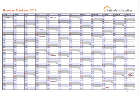 Thüringen Kalender 2012 mit Feiertagen - quer-einseitig