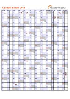 Bayern Kalender 2013 mit Feiertagen - hoch-einseitig