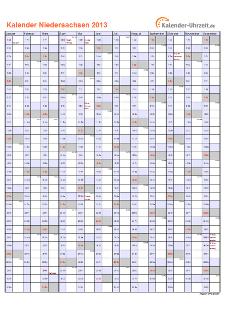 Niedersachsen Kalender 2013 mit Feiertagen - hoch-einseitig