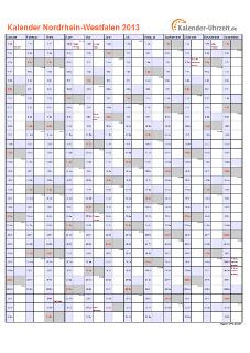 Nordrhein-Westfalen Kalender 2013 mit Feiertagen - hoch-einseitig