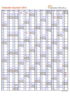 Sachsen Kalender 2013 mit Feiertagen - hoch-einseitig